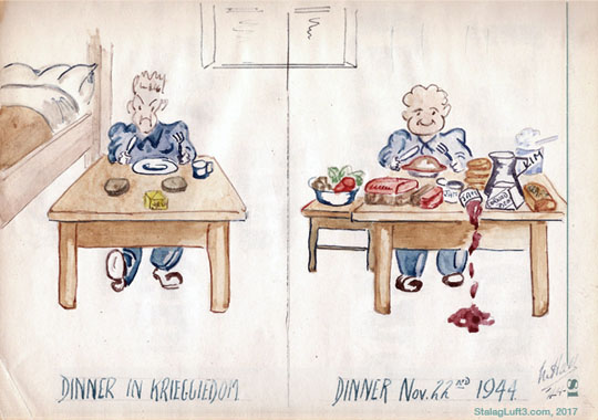 Cartoon Sketch from Stalag Luft III about Food