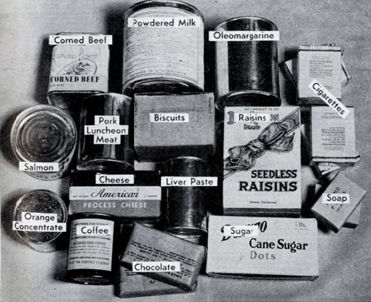 Contents of Red Cross Food Parcel