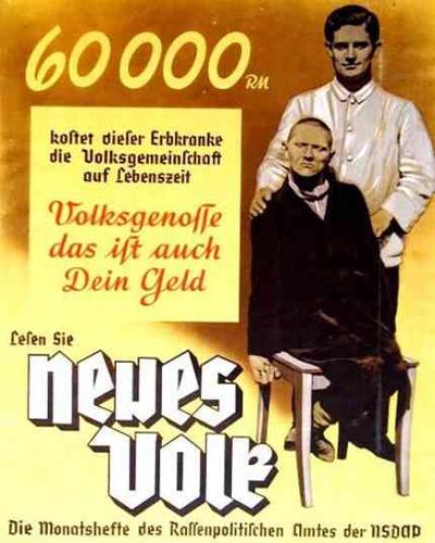 Poster Aktion T4 Euthanasia program in Nazi Germany