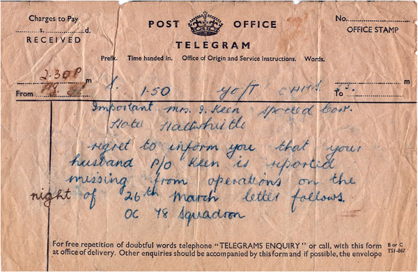 F/Lt Keen Military Records Missing in Action Telegram